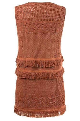 Dark Women's Vest Plus Open Fringed 709214 Size Popken Rouge Front Ulla Crochet qv5C4wx
