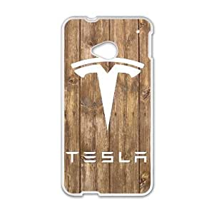Generic Design Back Case Cover HTC One M7 Cell Phone Case White Tesla Logo Ifrfp Plastic Cases