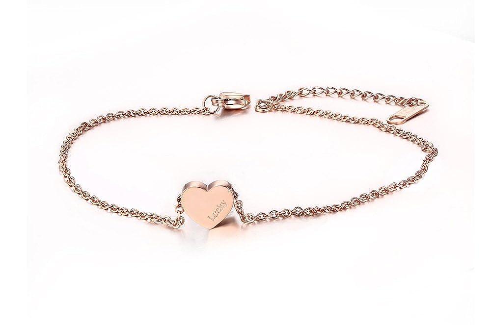Stainless Steel Heart Anklets Bracelet Foot Chain Jewelry, Rose Gold, Nickel Free 8.7 Nickel Free 8.7 Vnox Jewelry JC--002