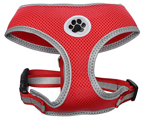 Choose Edging Color - Lanyar Red Mesh Soft Dog Harness No Pull Summer Pet Harnesses for Small Dogs, Medium Size