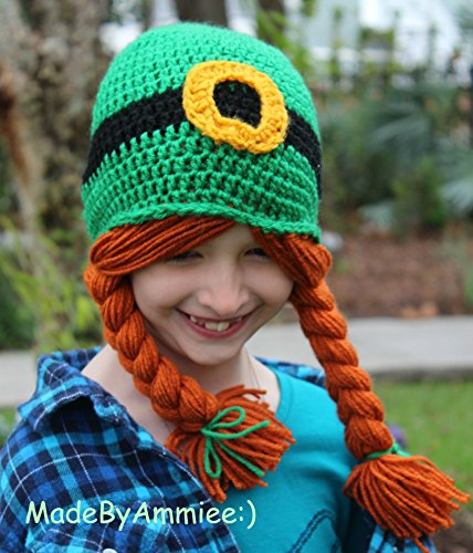 Ladies Crochet Irish Lass St Patrick's Day Ginger Pigtail Wig Braid Beanie, Knit St Patty's Day Ginger Hat