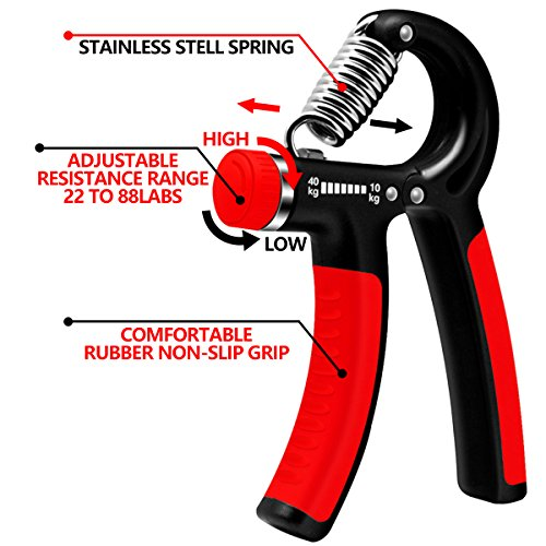 Ameri Fitness Hand Grip Strengthener Strength, [Set of 2] Increasing Hand Wrist Forearm Trainer Exerciser; Adjustable Resistance (22~88 Lbs); Non-Slip Gripper by Ameri Fitness (Image #4)