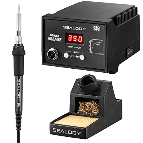 Digital Soldering Station with Pure Aluminum Soldering Stand, Tip Cleaning Wire and Sponge SSA51 (black) (Stand Black Iron)