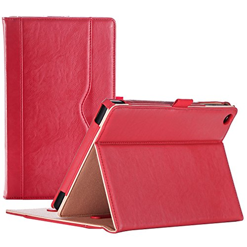 ProCase Amazon Fire HD 8 Case (6th, 7th and 8th Generation Tablets, 2016, 2017 and 2018 Releases), Stand Folio Folding Protective Cover for Fire HD 8 Tablet (6th Gen, 7th Gen, 8th Gen) -Red (Lime Kindle Fire Case)