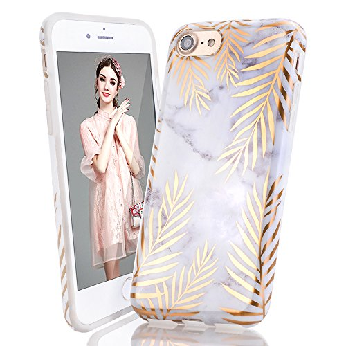 iPhone 5 Case,iPhone 5S SE Case,LUOLNH Gold leaves Marble Shockproof Clear Bumper TPU Soft Case Rubber Silicone Skin Cover Case for iPhone 5 5s SE (Iphone Case 5 Phone Rubber)