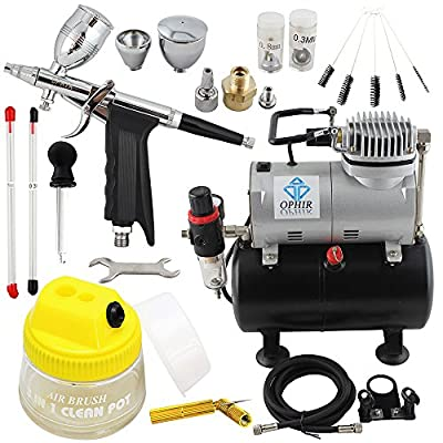 OPHIR 0.3mm 0.5mm 0.8mm Dual Action Airbrush Gun Kit with 110V Air Tank Compressor & Cleaning Pot & Tools for Model Hobby Nail Art Makeup