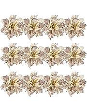 Toyvian 12 peças de flores artificiais Poinsétia de Natal com 12 clipes e 12 peças de enfeites de árvore de Natal com glitter para decoração de Natal, festa de casamento, grinalda