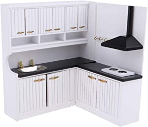 Prettyia European Style 1/12 Dolls House Kitchen Cupboard Cabinet Kit - Stove Cabinet & Sink Cabinet – Kitchen Dining Room Accessories