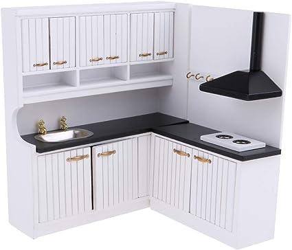 Amazon Com Prettyia European Style 1 12 Dolls House Kitchen