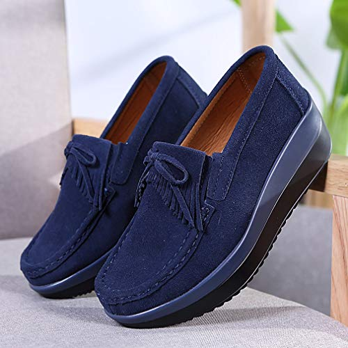 Bottom Blue Thick Shoes Fashion Single Fringed Leather Snail 40 Yao Women Peas wUZHqxxa