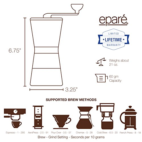 Eparé Manual Coffee Grinder – Conical Ceramic Burr – Portable Hand Crank Mill- 15 Adjustable Settings - Stainless Steel by eparé (Image #6)