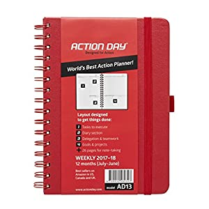 Action Day 2017-2018 – World's Best Action Planner – Action Layout That Gets Things Done - Daily / Weekly / Monthly / Yearly Agenda, Calendar, Organizer & Goal Journal (6x8 / Wire-Bound / Red)