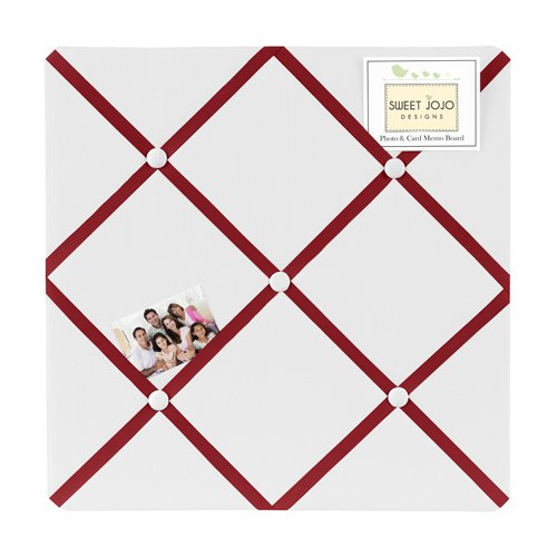 White and Red Hotel Fabric Memory/Memo Photo Bulletin Board by Sweet Jojo Designs (White Fabric Pin Board)