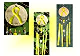 Mini Military Yellow Ribbon Loyalty to Our Troops Ceramic & Fused Glass Wind Chime Garden Patio Window Décor Windchime