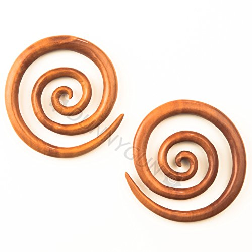 0G Pair Red Saba Wood Jumbo Super Spirals Gauged Earring ...
