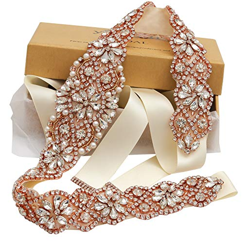 Bridal Rhinestone Wedding Belts Hand Clear Crystal 22In Length For Bridal Gowns ()