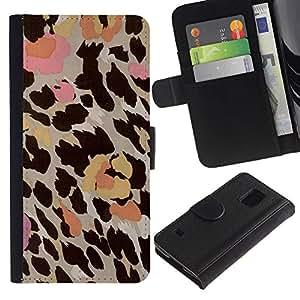 KLONGSHOP / Tirón de la caja Cartera de cuero con ranuras para tarjetas - Pink Beige Brown Yellow - Samsung Galaxy S5 V SM-G900