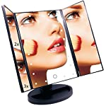 EmaxDesign Vanity Mirror 21 LED lighted Makeup Mirror With Magnification Trifold Touch Screen, USB Charging 180°Free Rotation Table Countertop Cosmetic Mirror (BLACK)