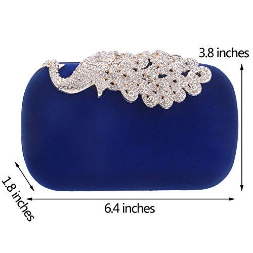 Elegant Blue Bags Bag Ladies Wallet Dress Evening Shoulder Womens Chain Clutch Purses PU Wedding 7OnnSxz
