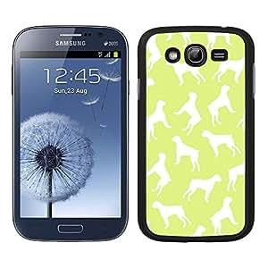 Funda carcasa TPU (Gel) para Samsung Galaxy Grand NEO Plus estampado perro perros boxer fondo verde lima borde negro
