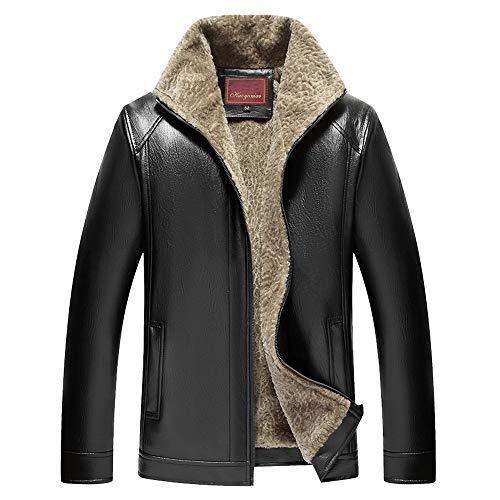 Price comparison product image Dressin_Coat Big, Men's Fashion Winter Warm Jacket Lapel Imitation Leather Coat Solid Button Outwear