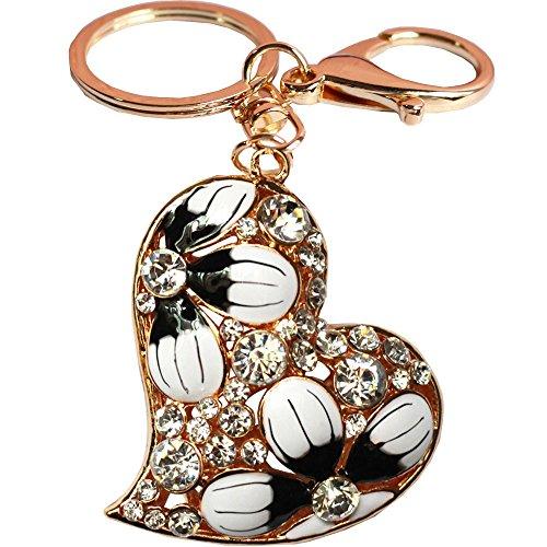 Bolbove Heart with Flowers Blooming Keychain Crystal Keyring Rhinestone Purse Pendant Handbag Charm (White)