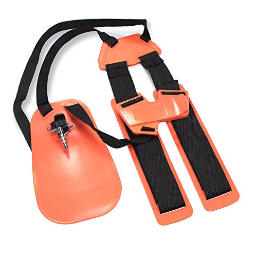 Trimmer Shoulder Strap, Pushingbest Mower Trimmer Harness Strap with Double Durable Nylon Belts Adjustable for Brush Cutter Garden Lawn and Camera( Orange )