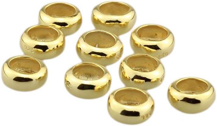 Calvas 2pcs//5pcs//10pcs Authentic 925 Sterling Silver European Style spacers Stopper Bead Charm Fit European Troll 3mm Bracelet Jewelry Color: 5PCS