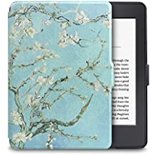WALNEW Cover for Kindle Paperwhite Lightest and Thinnest Premium Leather Case Smart Protective Cover for Kindle Paperwhite with Auto Wake/Sleep Function,Tree and Flower