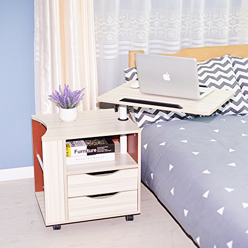 - sogesfurniture Height Adjustable Nightstand Movable Bedroom Side Table Overbed Bedside Table Stackable End Table Cabinet for Storage,Maple BHUS-CT1-MP