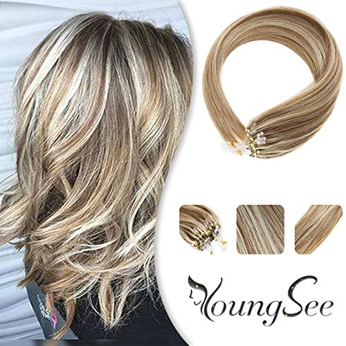 Youngsee 14inch Remy Micro Loop Hair Extensions Human Hair Light Brown Highlight with Blonde Micro Ring Beads Hair Extensions Real Human Hair 1g/s 50g (Hair Extensions Micro Human)