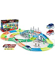 17Tek 360 Pieces Magic Car Tracks Set Amazing Flexible Bendable Glow in the Dark Racetrack with 2 LED Light Up Cars for Kids