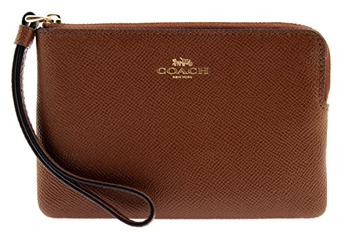 COACH Corner Zip Wristlet in Crossgrain Leather in Saddle 2