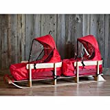 JAB Wooden Twin Baby Sled with Two Cushions and Windshields