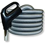Electrified Gas Pump Handle Direct Connect Central Vacuum Hose, 35 Foot, Black Ends Silver-Gray Hose