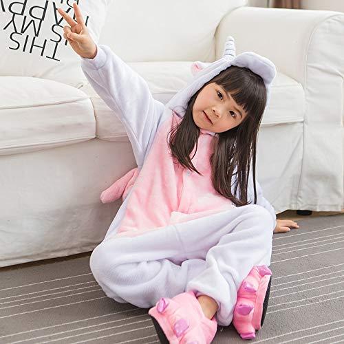 WATOP Stuffed Animals - Unicorn | Children Pajamas Unicorn Winter Pajama Cartoon one Piece Sleepwear Licorne Coral Fleece Warm Pijamas de ninos Unicornio Inverno(Pink B-7) -