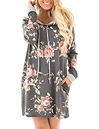 Womens Long Sleeve Thin Pullover Flower Print Casual...