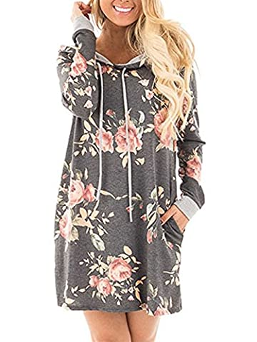 Xuan2Xuan3 Womens Long Sleeve Thin Pullover Flower Print Casual Loose Hoodies Sweatshirts Tunic Mini Shirt Dress With - Maternity Print Tunic