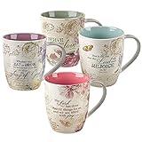 Christian Art Gifts Floral Inspirations Collection Inspirational Mugs - Set / 4