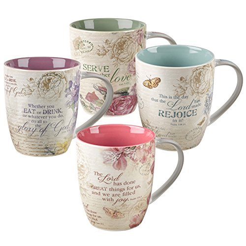 Christian Art Gifts Floral Inspirations Collection Inspirational Mugs - Set / 4