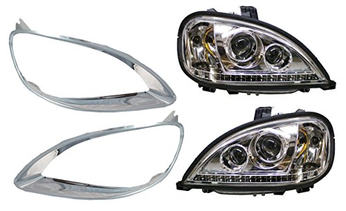 PetaParts PBP 34-100-SS Freightliner Columbia Headlight with LED and Chrome Bezel (Driver & Passenger Side)
