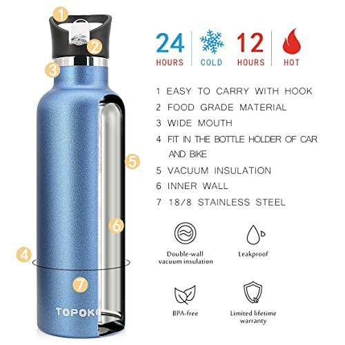 TOPOKO 25 OZ Double Wall Water Bottle Straw Lid with Handle, Vacuum Insulated Stainless Steel Bottle, Sweat Proof, Leak Proof Thermos Standard Mouth, Vacuum Seal Cap Mug (Straw Lid Blue) by TOPOKO (Image #6)