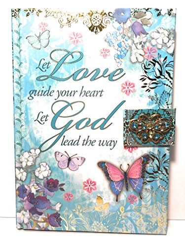 Punch Studio Jeweled Brooch Hard Covered Note Book - Let love guide your heart, Let god lead the way