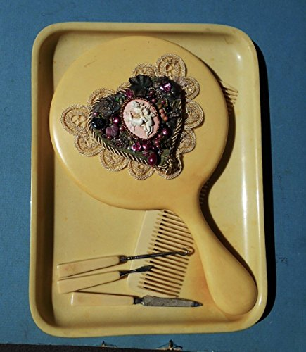 1930s Celluloid - 1930's Celluloid Cherub Hand Mirror