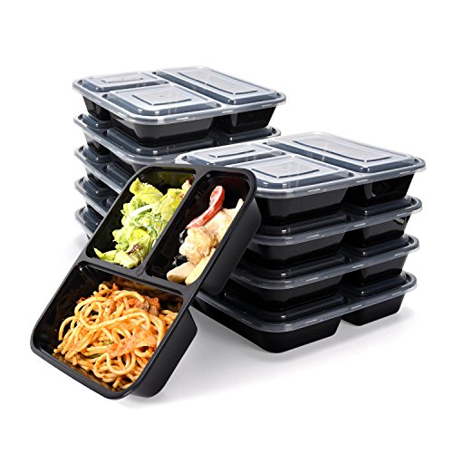 Meal Prep Containers 3 Compartments-JACKYLED 10-pack