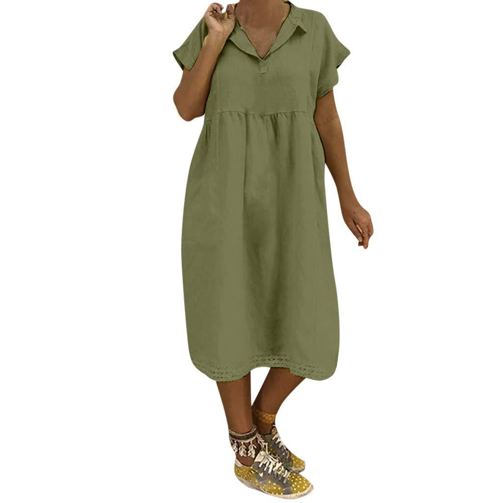 KUDICO Damen Kleid Kurzarm Umlegekragen Sommerkleid Knielang Langes Kleid Lässige Lose Tunika Top Spitze Hemdkleid Strandkleid
