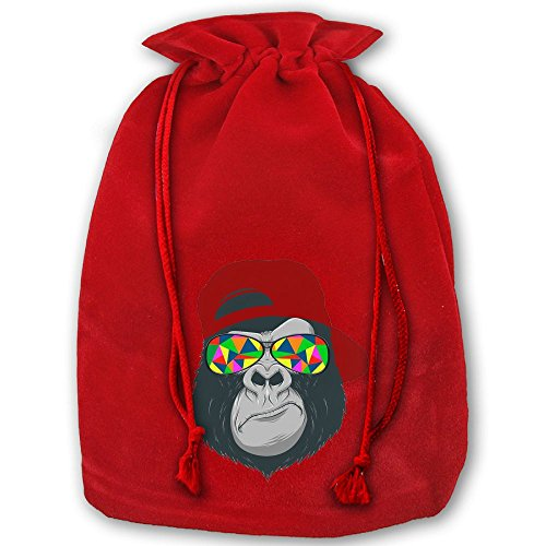 Gorilla With Red Hat And Sunglass Red Christmas Drawstring Bags / Santa's Trouser Bag/ Christmas Gift