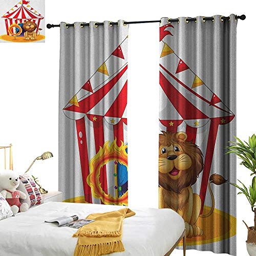 (Light Luxury high-end Curtains Circus Lion Beside The Fire Hoop at The Circus Old Fashion Kids King of Forest Illustration for Living, Dining, Bedroom (Pair) W108 x L96 Multicolor)