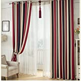 Modern Contemporary Stripe Print Blackout Curtain Grommet Top Thermal Insulated Room Darkening Engery Saving Drape Noise Reducing No Formaldehyde For Living Room and Bedroom, 52″ W x 63″ L, 2 Panel
