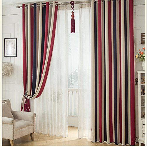GYROHOME Blackout Grommet Top Cartoon Curtains for Family Children Kids Teens Used in Bedroom,Living Room Sold As 2 Panels (52Wx96Lx2 Panels, Stripes) ()